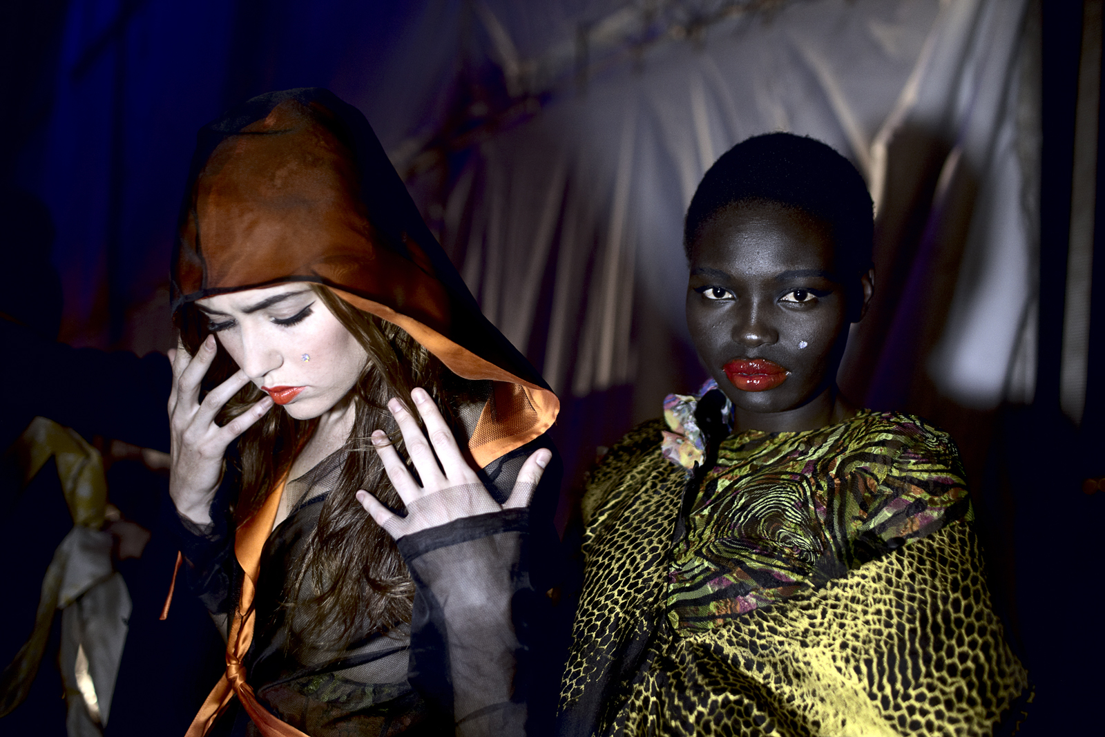 Models wait backstage before a show at Joburg Fashion Week on March 30, 2012, in Johannesburg, South Africa. (Photo by: Per-Anders Pettersson)
